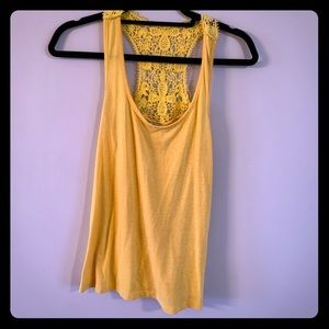 Yellow tank with lace back detail